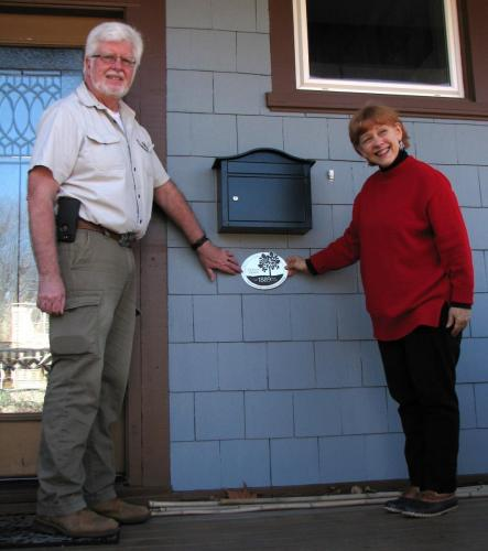 Ed and Mary with their newly minted century home plaque.