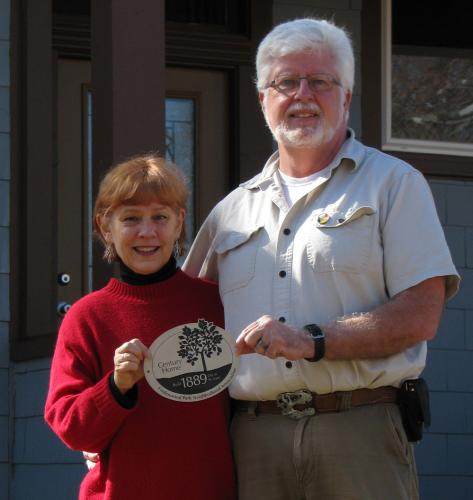 Ed Spevak and Mary Brong with their century home plaque.