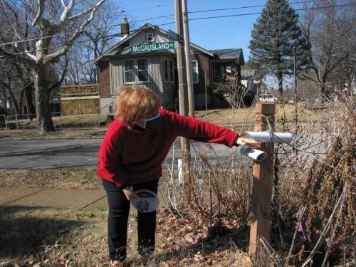 Mary shows the native garden.
